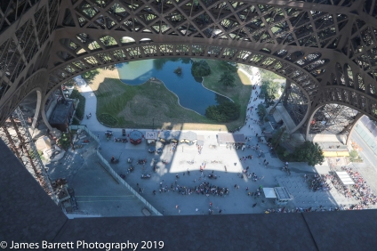 Looking down from second level of the Tour Eiffel