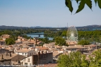 View of Rhône and Avignon from palace gardens. Emerald to left of Ferris Wheel
