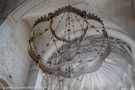 Chandelier above altar
